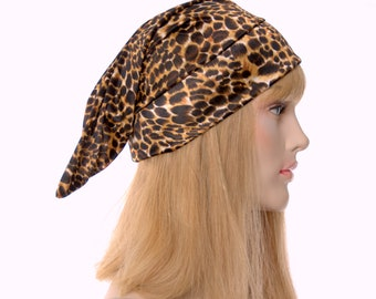 Nightcap Silky Leopard Print Chemo Ladies Night Cap Pointed Sleep Hat