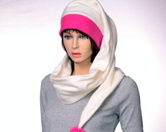 Stocking Cap Long Wrap Around Scarf Hat 5 in Hot Pink Cream Tail Hat with Pompom Fleece Magenta Ivory Hat