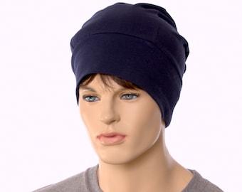 Cotton Beanie Woodworker Cap Artisan Unisex Adult Men Women Dark Navy Blue
