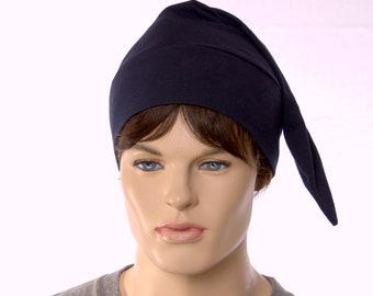 Night Cap Traditional Navy Blue Pointed Sleep Cap Cotton Unisex Adult Cotton Nightcap Hat to Sleep