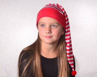 Childs Red White Stripe Stocking Cap Girl Boys Kids Cotton Holiday Pajamas Hat Night Cap Elf Christmas Nightcap Cosplay