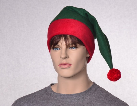 Green Red Stocking Cap Red Brim Christmas Elf Hat Green Santa  777666603dc