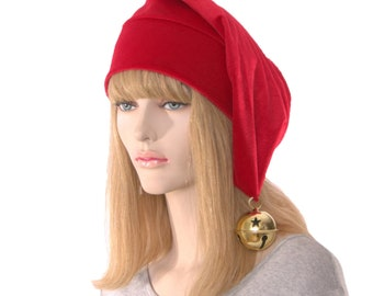 Christmas Stocking Cap Red Velour with Oversize Gold Bell Elf Hat with Pointed Tip Cosplay