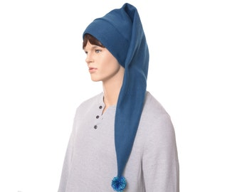 Extra Long Stocking Cap Teal Blue Waist Length PomPom Goth Santa Hat Long Tail Hat Fleece Hygge