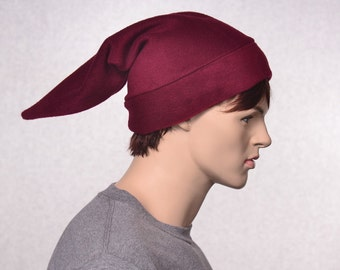 Burgundy Elf Hat Stocking Cap Pointed Fleece Maroon Pointy Hat Pointed Beanie