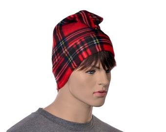 Red Plaid Phrygian Cap Liberty Hat Mens Hat Women Stewart Plaid Red Black Elf Pointed Adult