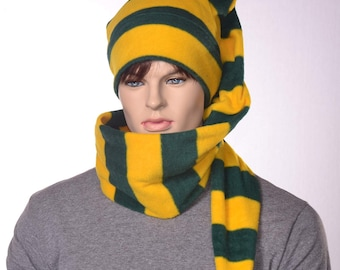 Coiled Stocking Cap Gold Green Striped Long Scarf Hat 5 ft Hat Unisex Adult Men Women