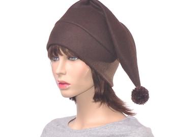 Dark Brown Stocking Cap Chocolate Pointed Brownie Hat with Pompom Fleece Adult Unisex Men Women Pompom Cosplay