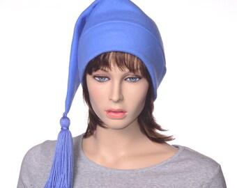 Stocking Cap Blue with Tassel Blue Elf Hat Fleece Hat Adult