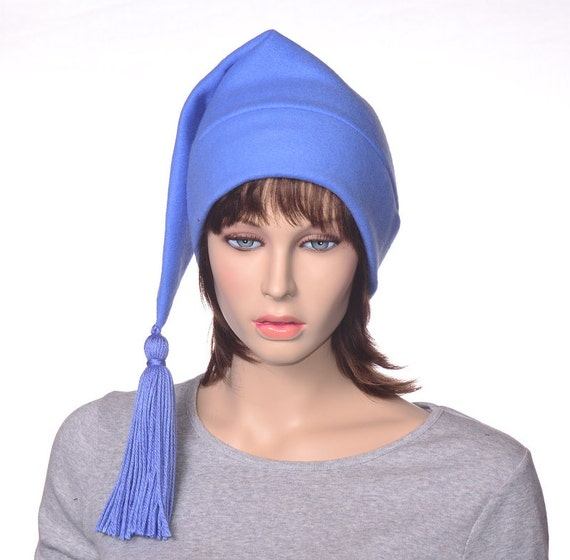 Sky Blue Stocking cap with Tassel Blue Elf Hat Fleece Hat with  fde2d900c8e