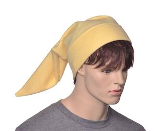 Pastel Yellow Elf Hat Fleece Pointed Beanie Football Game Cap  Dwarf Hat Hunter Kiwi pale yellow Sock Hat