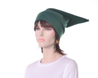 Elf Hat Green Pointed Fleece Adult Halloween Costume Stocking Cap Seven Dwarf Cosplay