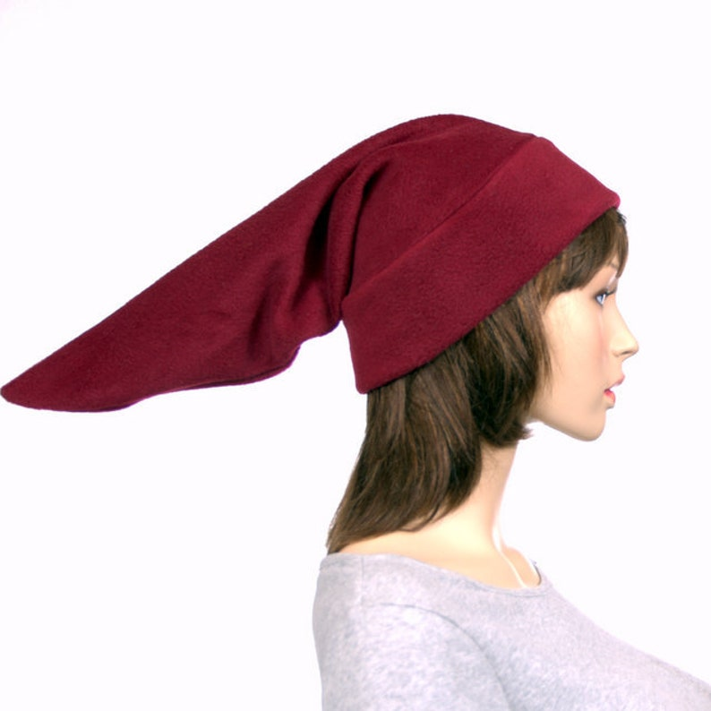 b255cfc201e Burgundy Elf Hat Stocking Cap Pointed Fleece Maroon Pointy