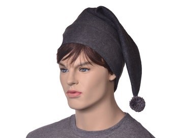 Dark Grey Elf Hat Dark Gray Stocking Cap Charcoal Gray Pointed Beanie Fleece Pompom Adult