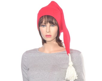 Long Red Stocking Cap with White Tassel Tail Christmas Elf Hat