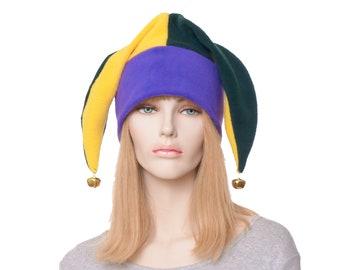 Jester Hat New Orleans Three Point Harlequin Cap with Bells Fleece Mardi Gras Carnival Fleece Cosplay