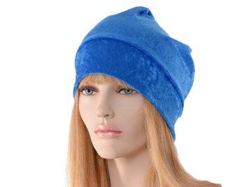 Sapphire Blue Beanie of Crushed Panne Velvet Ladies Slouchy Boho Chemo Cap