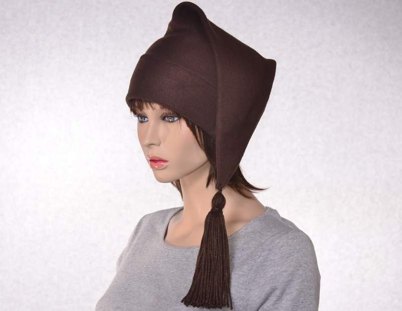 a0e83b4a Brown Stocking Cap Long Pointed Hat with Tassel Warm Winter Beanie Elf Cap  Sock Hat
