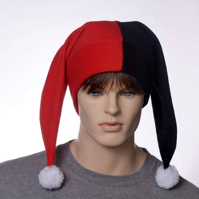 62b9108b64c Black and Red Harlequin Hat with White Pompom Fleece Costume