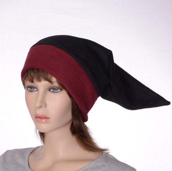 Bordeaux et noir chapeau de lutin pointu nain Cap bonnet Long   Etsy 1d0be7387af