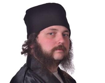 Men's Cotton Nightcap Black Victorian Night Cap Smoking Hat Flannel Round Extra Large XL Steampunk Gentlemen