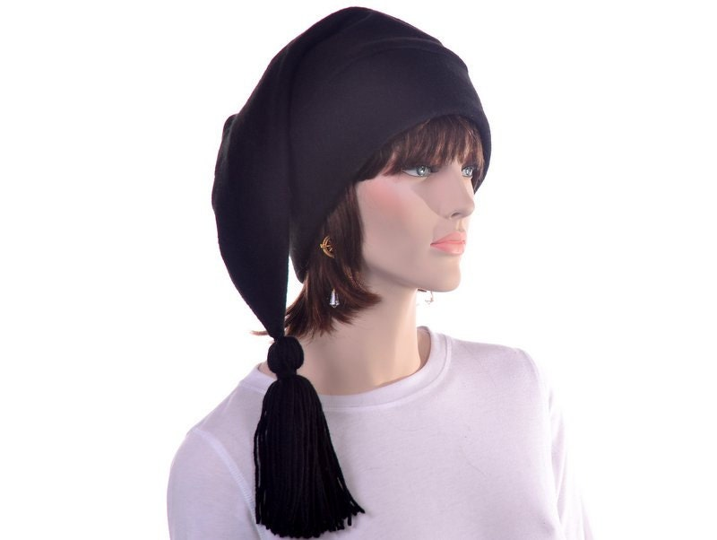 36d2bbb6 Black Stocking Cap Long Pointed Hat with Tassel Warm Winter Beanie ...