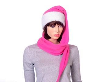 Long Stocking Cap Hot Pink with Sherpa Headband Adult Men Women Scarf Hat 5 Foot Long Tail Warm Winter Fleece Beanie