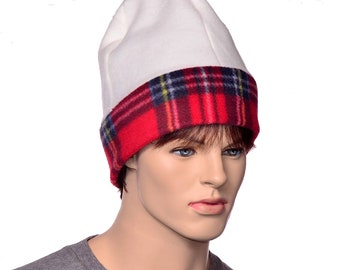 Extra Large Beanie Watchman Cream and Red Plaid Hat for Large Head Plus Sized Hat Jumbo Cap