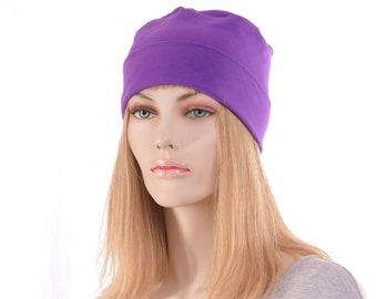 Nightcap Orchid Purple Cotton Cuffed Night Cap Adult Men Women Holiday Christmas Chemo Hat