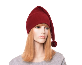 Stocking Cap Burgundy Pointed Tail Hat Pompom Long Beanie Maroon Adult Mens Womens Hat