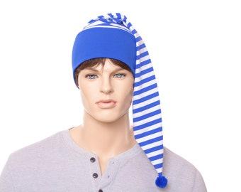 Night Cap Blue White Striped Nightcap with Pompom Cotton Adult Men Women Royal Blue Pirate Chemo