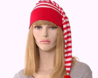 Christmas NightCap Red and White Striped Night Cap Pompom Cotton Adult Men Women Holiday Pajamas Hat