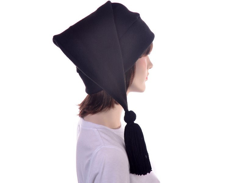c7722ecd Black Stocking Cap Long Pointed Hat with Tassel Warm Winter Beanie Elf Cap  Sock Hat