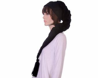Long Stocking Cap Black on Black Striped Goth Extra Long Hat Gothic Tassel Hat Cosplay