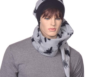 Stocking Cap Extra Long Gray Black Spider Bugs Wrap Around Scarf Hat 5 ft Long Tail Hat with Tassel
