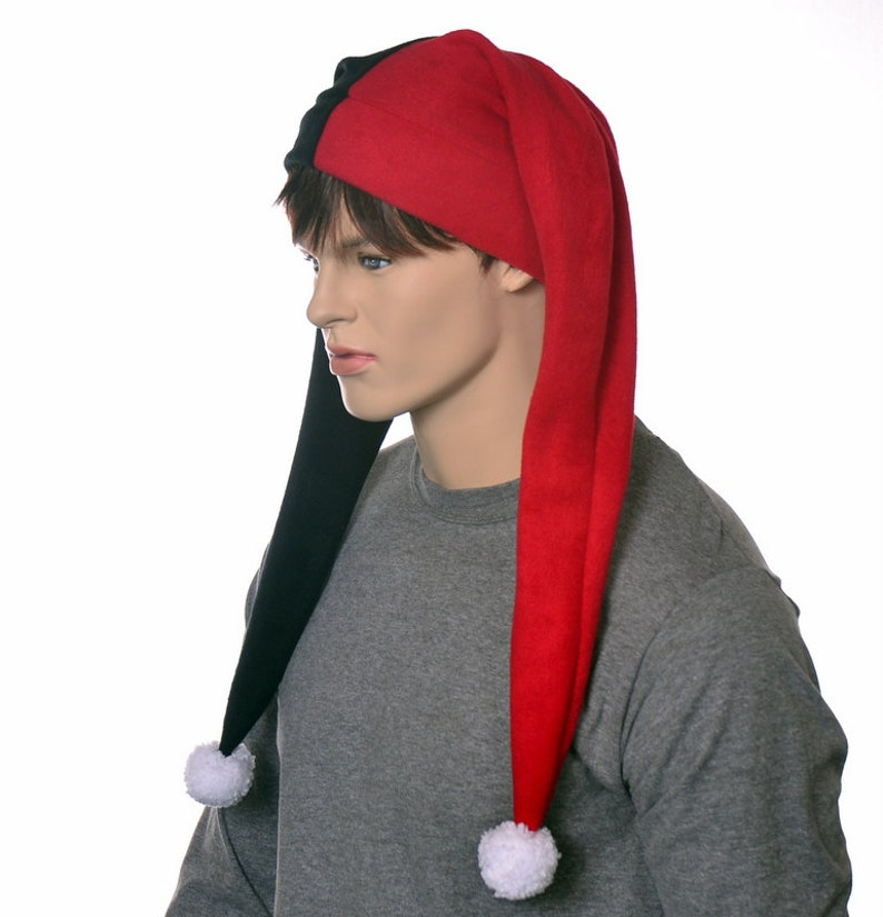 Long Jester Hat Red Black Harlequin Cap with Pompom Two Tail Mardi Gras Carnival Costume Hat