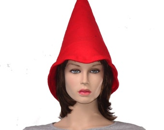 Oversized Red Gnome Hat Extra Wide Bell Brim Cosplay