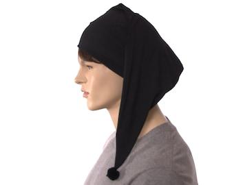Night Cap Black Cotton Pointed Nightcap with Pompom Adult Men Women