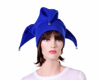 Blue Jester Hat Three Point Joker Style with Bells Renaissance Court Fool Harlequin Hat Cosplay