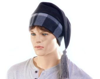 Buffalo Plaid Stocking Cap  Black Gray Long Pointed Hat with Tassel Hygge Warm Winter Beanie Elf Cap Sock Hat Adult
