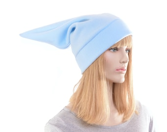Light Blue Elf Hat Mens Stocking Cap Blue Fleece Pointed Hat Costume Dwarf Adult Cosplay