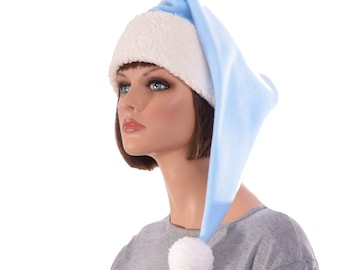 Santa Hat Light Blue Sherpa Elf Cap Adult Men Women Fleece Pointed Pompom