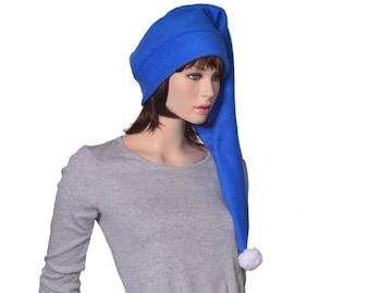 Long Stocking Cap Sapphire Blue White Pompom Hat Warm Winter Fleece Hat Adult Men Women Long Tail Hat Blue Santa