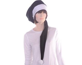 Extra Long Stocking Cap Black White PomPom Fleece Goth Black Santa Hat Long Tail Hat