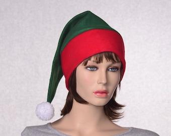 Green Red Stocking Cap  Red Headband White Pompom Christmas Elf Hat Green Santa Hat Cosplay