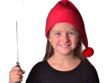 Stocking Cap Mr Smee Cosplay Hat Child Pirate Hat Red Pompom 20 inch Headband Small