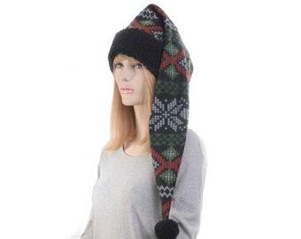 Long Stocking Cap Black Gray Fair Isle Sherpa Waist Length Pointed Hat Fleece Santa Elf Hat Adult Men Women