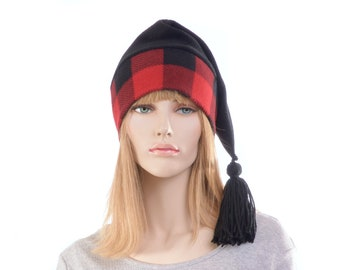 Buffalo Plaid Stocking Cap Red Gray Long Pointed Hat with Tassel  Warm Winter Beanie Hygge Elf Cap Sock Hat Adult