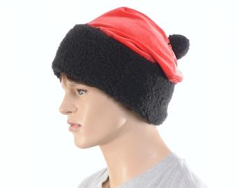 Short Santa Hat Red Velvet and Black Sherpa Pompom Adult Men Women