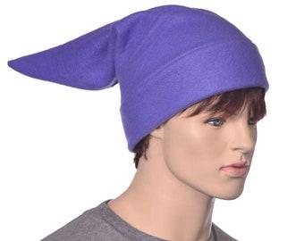 Purple Elf Hat Stocking Cap Dwarf Fleece Pointed Adult Mens Womens Hat Warm Beanie Cosplay